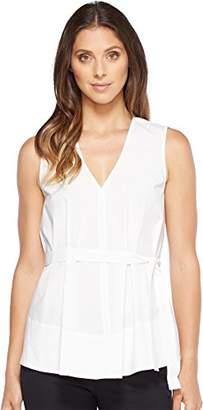 Ellen Tracy Women's Belted Poplin Shell