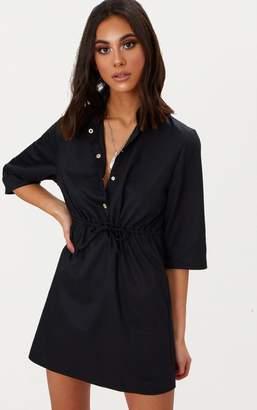 PrettyLittleThing Black Utility Shirt Dress