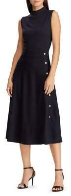 Lauren Ralph Lauren Button-Trimmed Ponte A-Line Midi Dress
