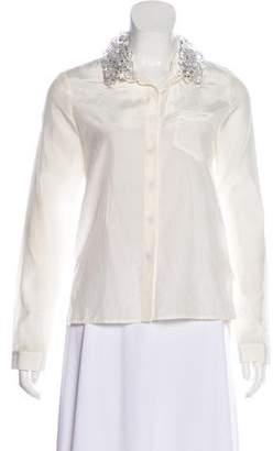 Gryphon Silk-Blend Button-Up Top