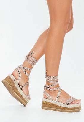 Missguided Grey Snake Print Flatform Lace Up Espadrille Sandals