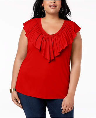 Style&Co. Style & Co Plus Size Ruffled V-Neck Top, Created for Macy's