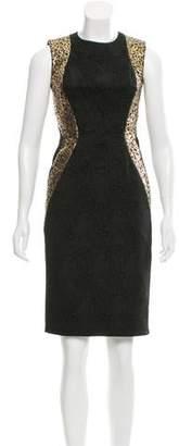 Carmen Marc Valvo Metallic Paneled Knee-Length Dress w/ Tags