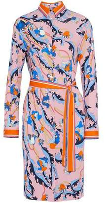 Emilio Pucci Belted Printed Jersey Shirt Dress