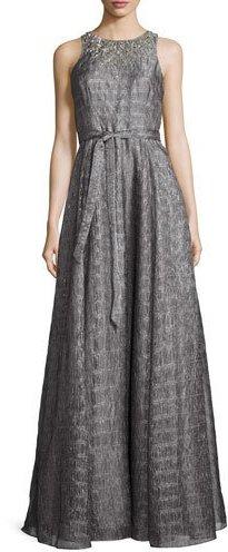 Aidan MattoxAidan Mattox Sleeveless Embellished Metallic Organza Gown, Smoke