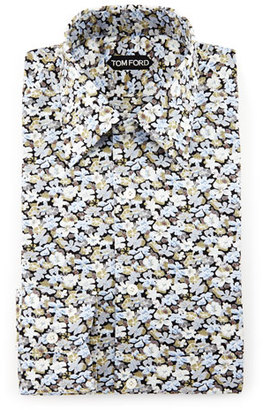 TOM FORD Hydrangea Prairie-Floral Slim-Fit Shirt, Blue $1,160 thestylecure.com
