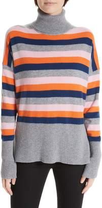 Cinq à Sept Layla Stripe Ruffle Hem Cashmere Sweater