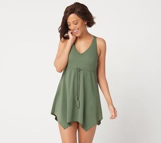 Denim & Co. Beach V-Neck Handkerchief Hem Swim Dress