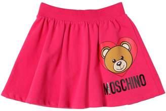 Moschino Heart Bear Printed Cotton Sweat Skirt
