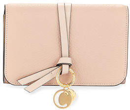 Chloé Alphabet Pebbled Leather Compact Wallet