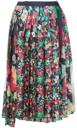 Sacai floral pleated midi skirt