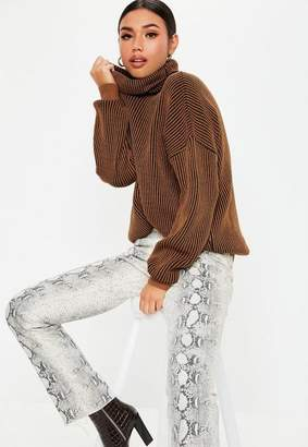 Missguided Rust Ribbed Turtle Neck Sweater