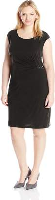 NY Collection Women's Plus-Size Extended Shoulder Dress with Hardware At Side and Zipper At Back