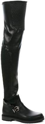 Fendi Black Biker Leather thigh boots