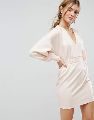 Asos DESIGN Mini V Neck Dress with Elastic Cuff & Waist Detail