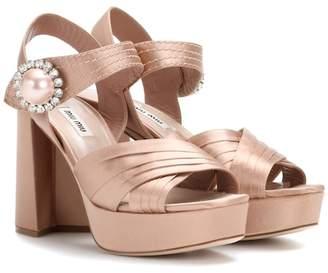 Miu Miu Satin plateau sandals
