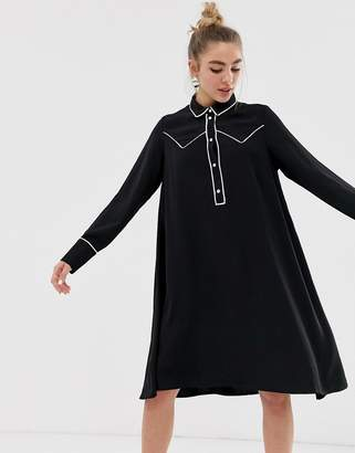 Monki western trim shirt dress