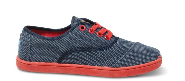 Toms Blue rugged canvas youth cordones