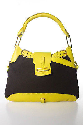 Jimmy Choo Jimmy Choo Brown Yellow Canvas One Strap 5 Pocket Shoulder Handbag