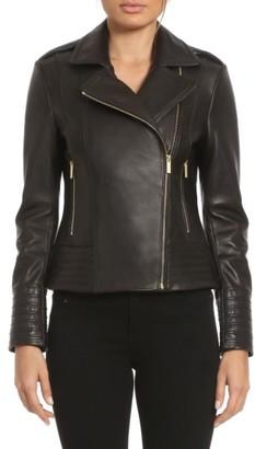 Women's Badgley Mischka Gia Leather Biker Jacket $495 thestylecure.com