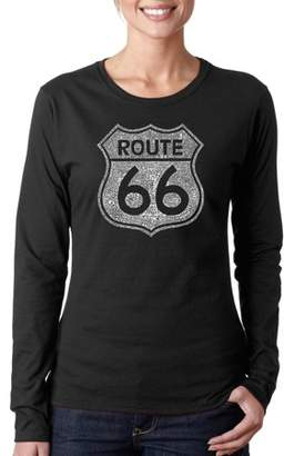 "Los Angeles Pop Art Women's ""CITIES ALONG THE LEGENDARY ROUTE 66"" Long Sleeve T-Shirt"