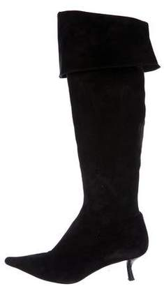 Fendi Pointed-Toe Suede Boots