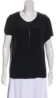 Comptoir des Cotonniers Silk Faux Leather Top