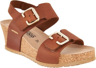 Mephisto Leather Double Strap Wedges - Lissandra
