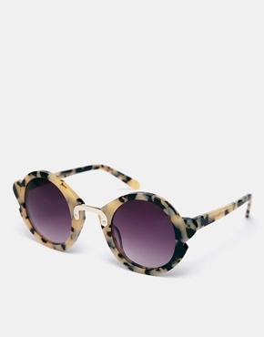 ASOS Handmade Acetate Round Sunglasses With Nose & Corner Detail