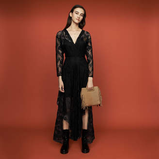 Maje Long-sleeved scarf dress in lace
