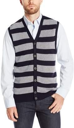 Haggar Men's Jacquard Horizontal Stripe Button Front Vest
