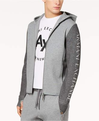 Armani Exchange Men's Colorblocked Logo-Print Double-Knit Hoodie