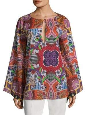 Etro Floral Paisley Bell-Sleeve Top