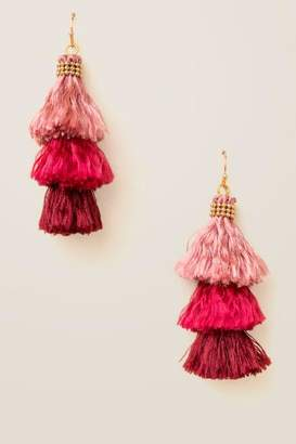 francesca's Kesha Multi Colored Tassels Earrings - Burgundy