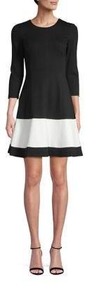 Eliza J Colourblock Long Sleeve Fit-and-Flare Dress