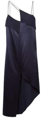 Dion Lee Asymmetric Crepe-Paneled Silk-Satin Midi Dress