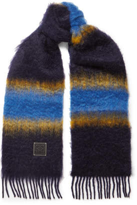 Loewe Fringed Striped Mohair Scarf - Blue