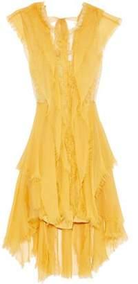 Alberta Ferretti Lace And Tulle-trimmed Frayed Silk-chiffon Dress