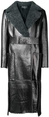 Salvatore Ferragamo metallic belted coat