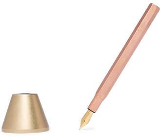 Ystudio Brass And Copper Desk Fountain Pen And Holder