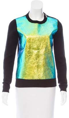 Milly Metallic Crew Neck Sweater