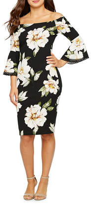 PREMIER AMOUR Premier Amour 3/4 Bell Sleeve Off The Shoulder Floral Sheath Dress