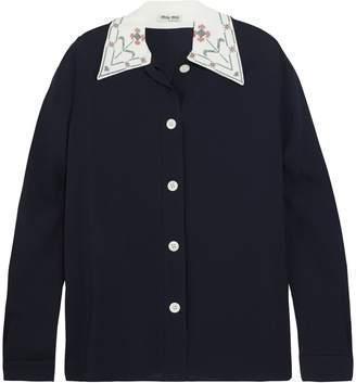 Miu Miu (ミュウミュウ) - ミュウ ミュウ 刺繍入り クレープ シャツ