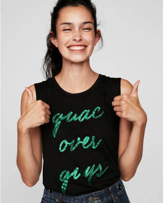 Express guac over guys crew neck muscle tank
