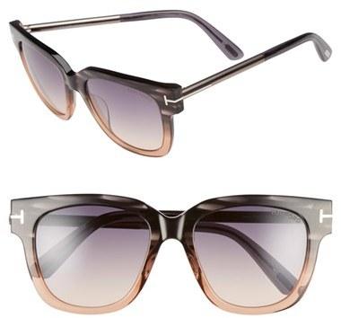 Women's Tom Ford 'Tracy' 53Mm Retro Sunglasses - Grey/ Gradient Smoke