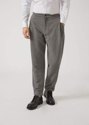 Emporio Armani Trousers In Chevron Pattern Stretch Virgin Wool