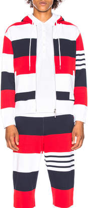 Thom Browne Drop Shoulder Zip Hoodie