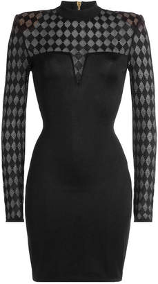 Balmain Mini Dress with Sheer Inserts