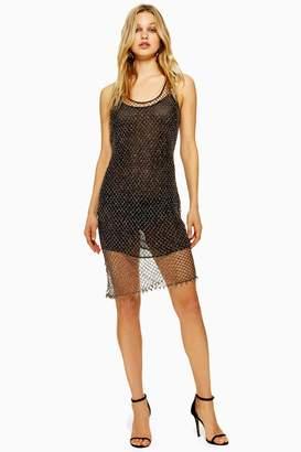Topshop Womens Beaded Crochet Mini Dress - Bronze