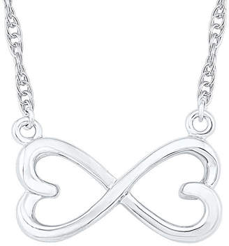 FINE JEWELRY Womens 10K White Gold Infinity Pendant Necklace